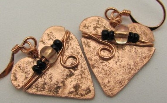 Copper Heart Shaped Earrings,  Heart Earrings,  Beaded Heart Earrings.