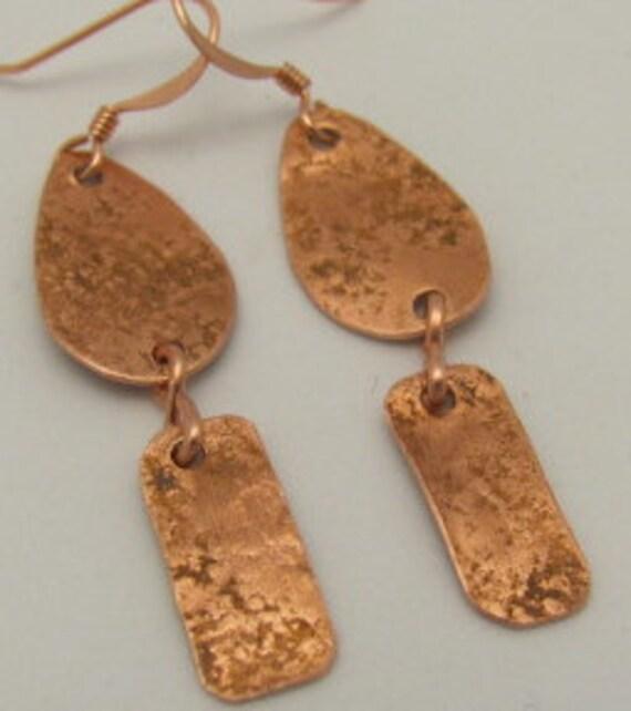 Copper Earrings, Teardrop and Rectangles Dangle Earrings. ONSALE.