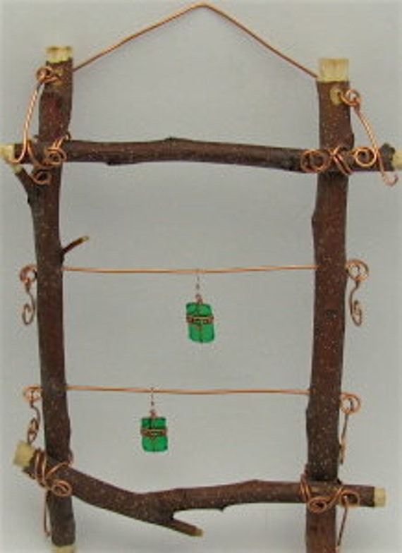 Jewelry Frame Display Holder, Barlett Pear Wood - Including FREE recycled green earrings.
