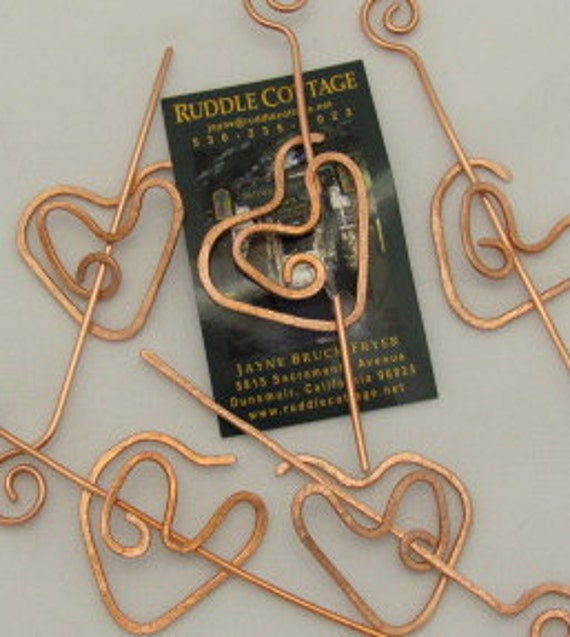 Heart Shawl/Hair Pins, Copper Wire heart closure pin.Wholesale Set of 5.