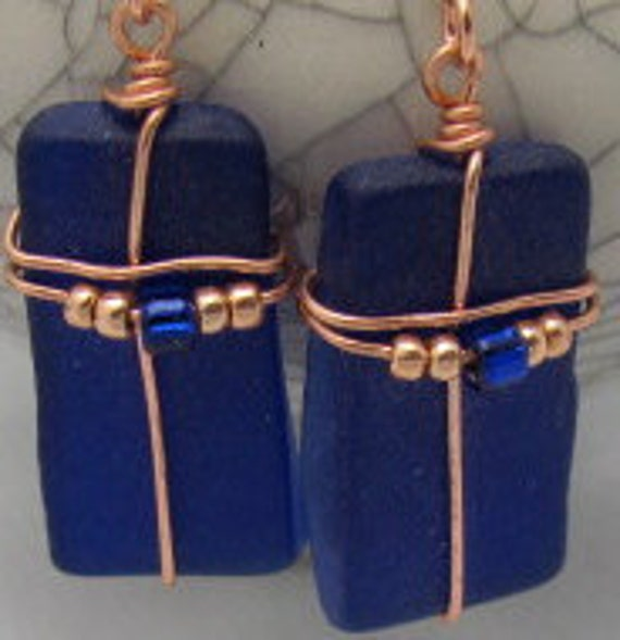 Recycled glass cobalt blue vintage old glass earrings.