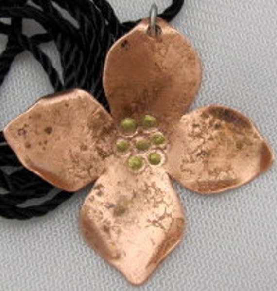Copper Dogwood Pendant - Copper Flower Pendant - Mother Gift. ONSALE.