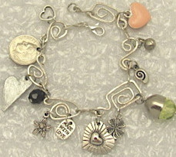 Charm Bracelet - Handmade Charm Bracelet -  Assortment of charms.