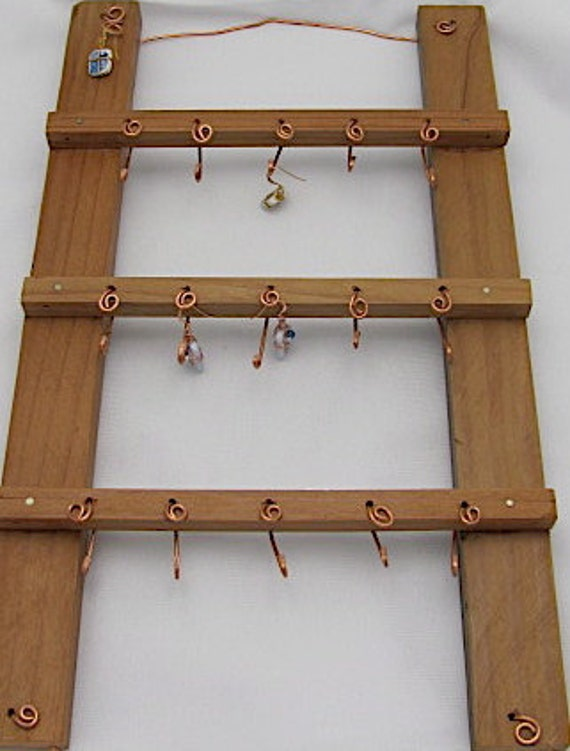 Jewelry Display Hanger -  Key Rack - Recycled REDWOOD Display. REDUCED.
