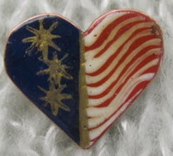 American Flag Jewelry, USA Pin, Patriotic Heart Pin.