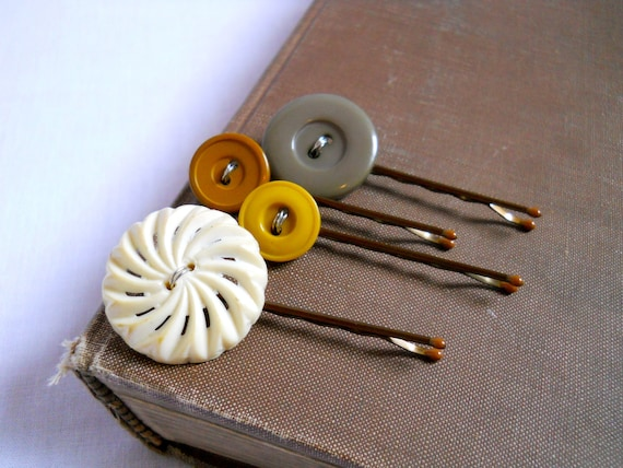 willow vintage button bobby pins set of 4