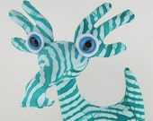 Cute Green Alien Toy, Stuffed Animal Plush Dragon Dinosaur Creature by Adopt an Alien named Wizzle