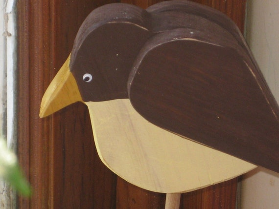 Medium Brown and Yellow Wooden Bird Country Accent   292