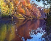 Autumn landscape watercolor painting print by Cathy Hillegas, Autumn On Blue River, 11x14, watercolor print, creek, red yellow blue green