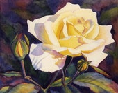 Yellow Rose art watercolor painting print by Cathy Hillegas, watercolor print, watercolor rose , 8x10 art, floral art,yellow, purple, green