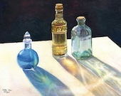 Glass Bottles in sun art watercolor painting print, still life, Cathy Hillegas, 11x14, watercolor print, watercolor bottles, blue gold teal