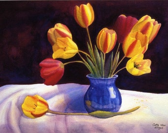 Yellow Tulips art watercolor painting print by Cathy Hillegas. watercolor flowers, yellow red orange, blue purple, 11x14, watercolor print