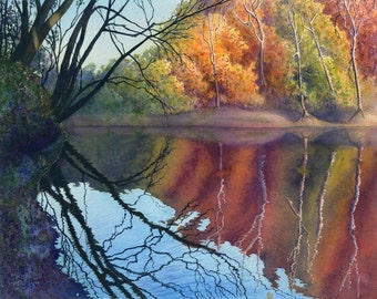 Autumn art watercolor painting landscape print by Cathy Hillegas, 11x14, Blue River, watercolor print, watercolor landscape, autumn colors
