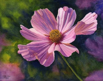 Pink cosmos, floral watercolor painting print Cathy Hillegas, 11x14, pink, purple, blue, yellow, green, watercolor flowers, watercolor print