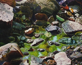 Creek Art Watercolor Painting Print by Cathy Hillegas, 12x16, watercolor print, As Above So Below, water, rocks, green, yellow, blue, brown