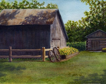 Barn landscape art watercolor painting print by Cathy Hillegas, 11x14 print, watercolor print, watercolor barn, brown green blue purple art
