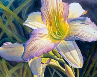 Daylily art watercolor painting print by Cathy Hillegas, 12x16, floral, flowers, white, cream, yellow, purple, blue green