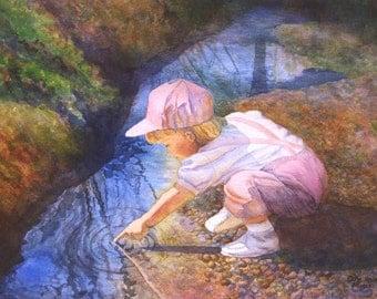 Childrens Art Watercolor Painting Print by Cathy Hillegas, 8x10, watercolor print, nursery art, paintings of children, watercolor children