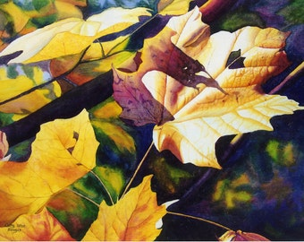 autumn leaves art watercolor painting print by Cathy Hillegas, October Light, 11x14, gold, yellow, orange, purple, blue, green