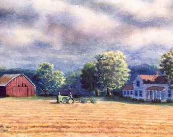Barn, Tractor landscape watercolor print of an original painting by Cathy Hillegas, brown, red, blue, green, purple