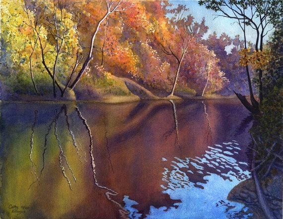 Autumn On Blue River, watercolor landscape print of original painting by Cathy Hillegas