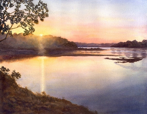 River Sunset, landscape watercolor print of original painting by Cathy Hillegas, 8x10 blue, peach, yellow, purple, giclee,