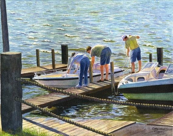 River, boats, landscape watercolor painting print by Cathy Hillegas, 12x16, watercolor landscape, Ohio River art, blue art, lakehouse decor