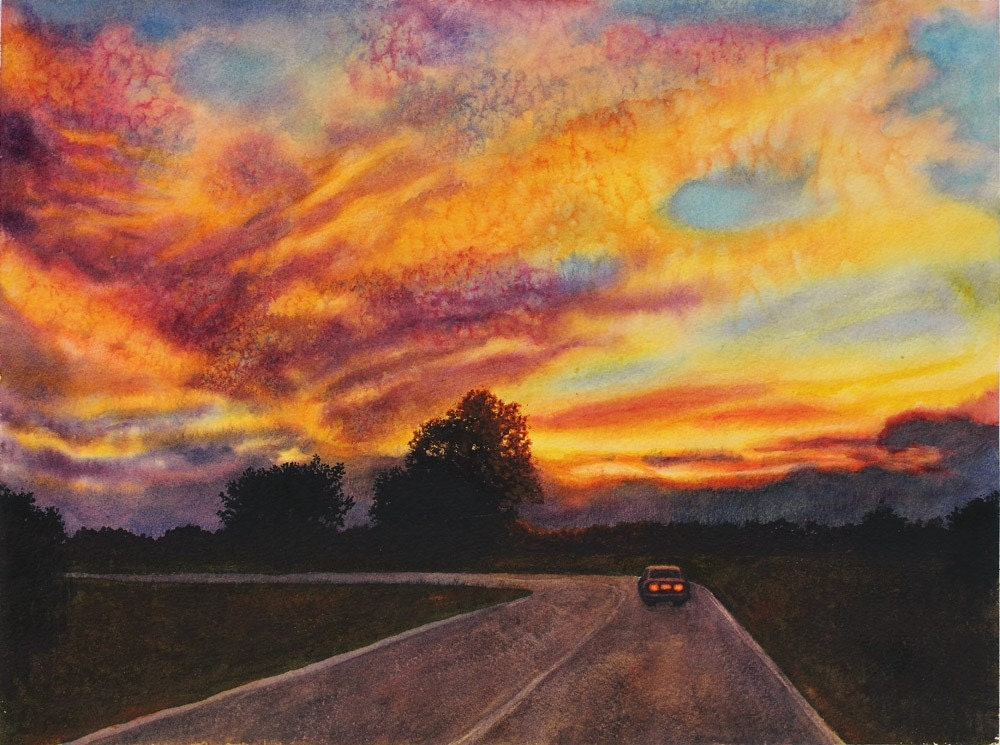 Sunset landscape painting original watercolor by by ...