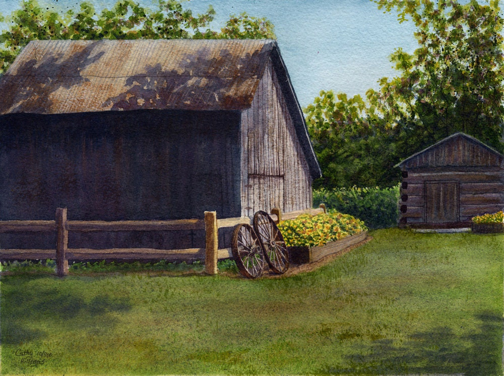 Barn Landscape Art Watercolor Painting Print By Cathy