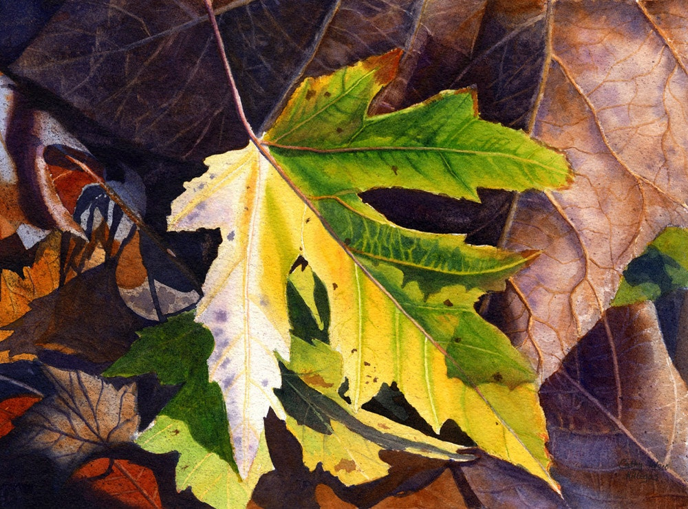 Yellow Leaf Art Watercolor Painting Print By By Cathyhillegas