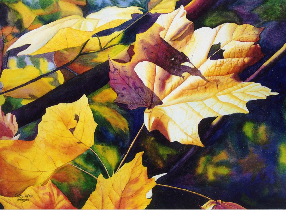 autumn leaves art watercolor painting print by Cathy Hillegas