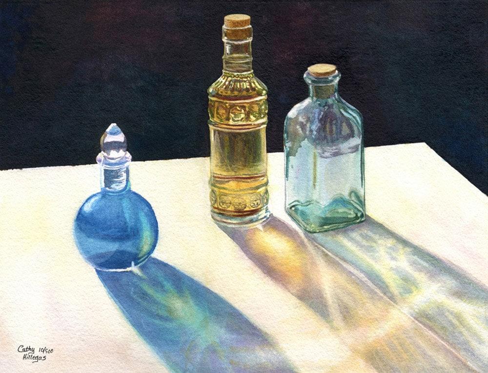 Glass Bottles In Sun Art Watercolor Painting Print Still