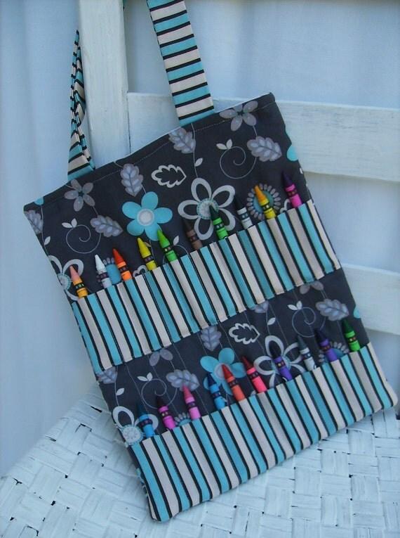 Crayon Bag - Grey Floral
