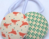 SALE - Little orange birds with complementary green - Large fabric button hair elastics - Set of 2.