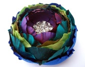 Peacock Dupioni Silk Cannelita Flower Blossom Brooch