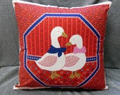 Throw Pillow Cover, Loving Duck Couple on Red, Style M, 15 Inch