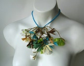 paper jewelry, flower necklace, paper necklace, flower jewellery, romantic necklace, anniversary gift, woodland colors, one year anniversar