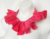 pink collar, felt  collar, ruffle necklace, ruffle collar, felt jewellery. rose pink felt, jewel tones, modern jewelry