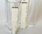 long dangle earrings, statement jewelry, bridal wear, glomesh, matt silver earrings