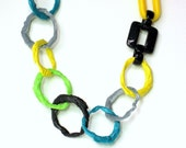 recycled plastic necklace, statement jewelry, summer fashion,  urban design, Eco-Friendly, eco fashion