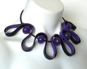 rubber necklace, purple necklace, modern design jewelry, summer fashion, bellflower, geometric jewelry, chunky jewelry