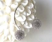 snow flake modern Sterling Silver earrings, Dandelion earrings, ready to ship, dangle earrings, designer drop earrings