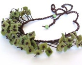olive green felt necklace, wool felt jewelry, woodland forest colors, winter accessory,  fringe jewellery, ready to ship, bib necklace
