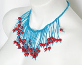 teal and red bib necklace, fringe jewelry, boho chic, summer fashion, color block, bright color statement necklace