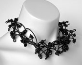 black rubber necklace, knotted jewellery,  fashion statement, black choker