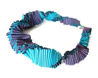 haute couture ruffle collar, summer fashion, pleated bib necklace, electric purple and teal