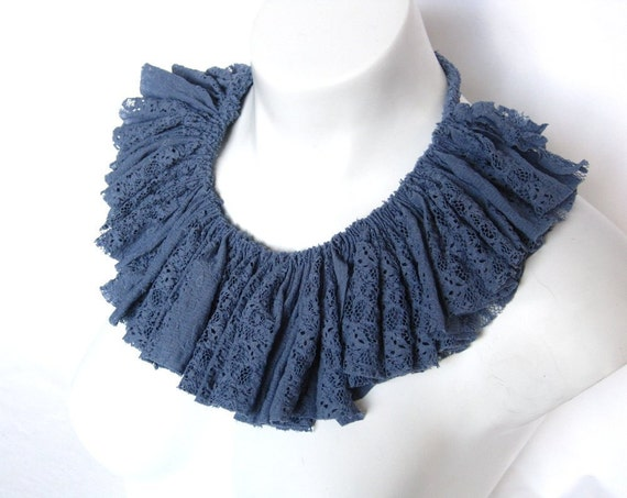 steel blue lace collar,  ruffle necklace, ruffle collar, bib necklace, ready to ship, lace jewelry, summer fashion