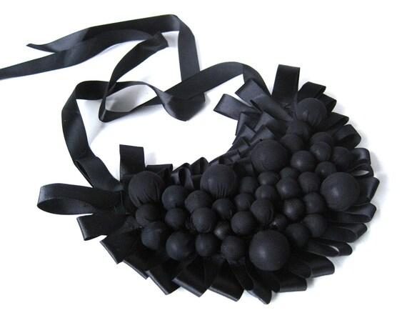 black bib necklace, bubble necklace, avant garde, statement jewelry, bib necklace