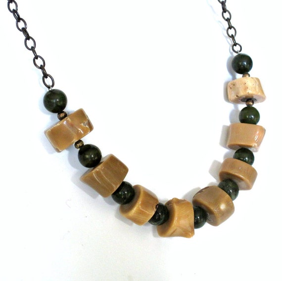 Special Order For Lydia green jade  and coral necklace,  chunky stone jewellery, stone necklace