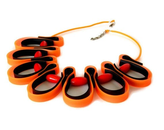 neon orange necklace, contemporary design, tangerine tango, urban jewelry, geometric fashion, flame colors